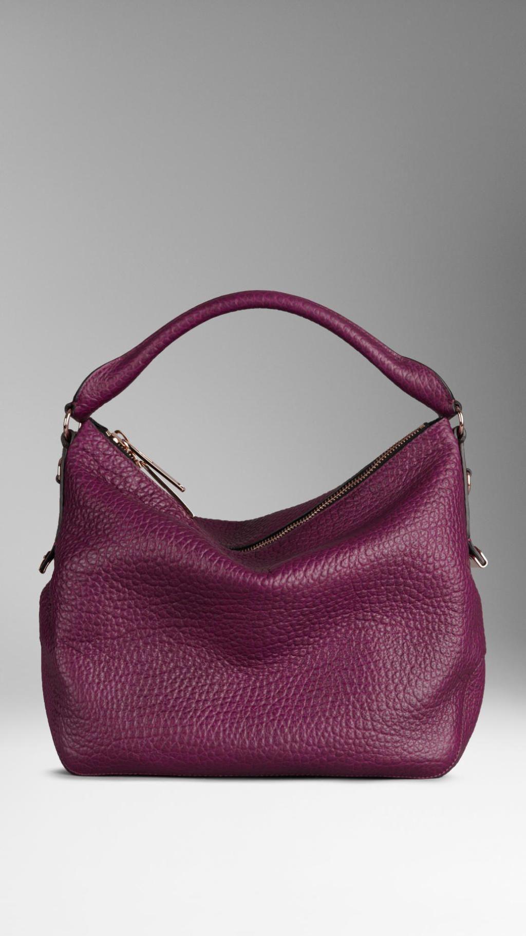 7e22d6eb17e0 Burberry - Purple Small Heritage Grain Leather Hobo Bag
