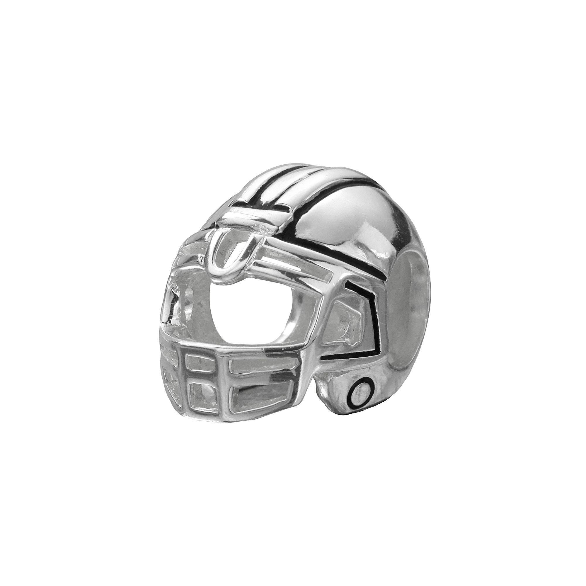 Individuality Beads Sterling Silver Football Helmet Bead Grey