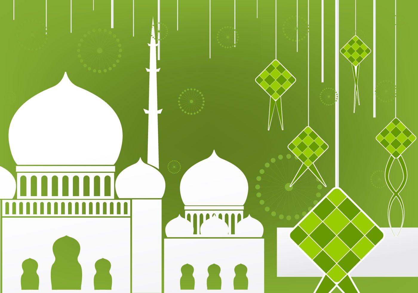 Flat Design Of Ketupat And Mosque Eid Card Designs Wallpaper Wa Vector Illustration Design
