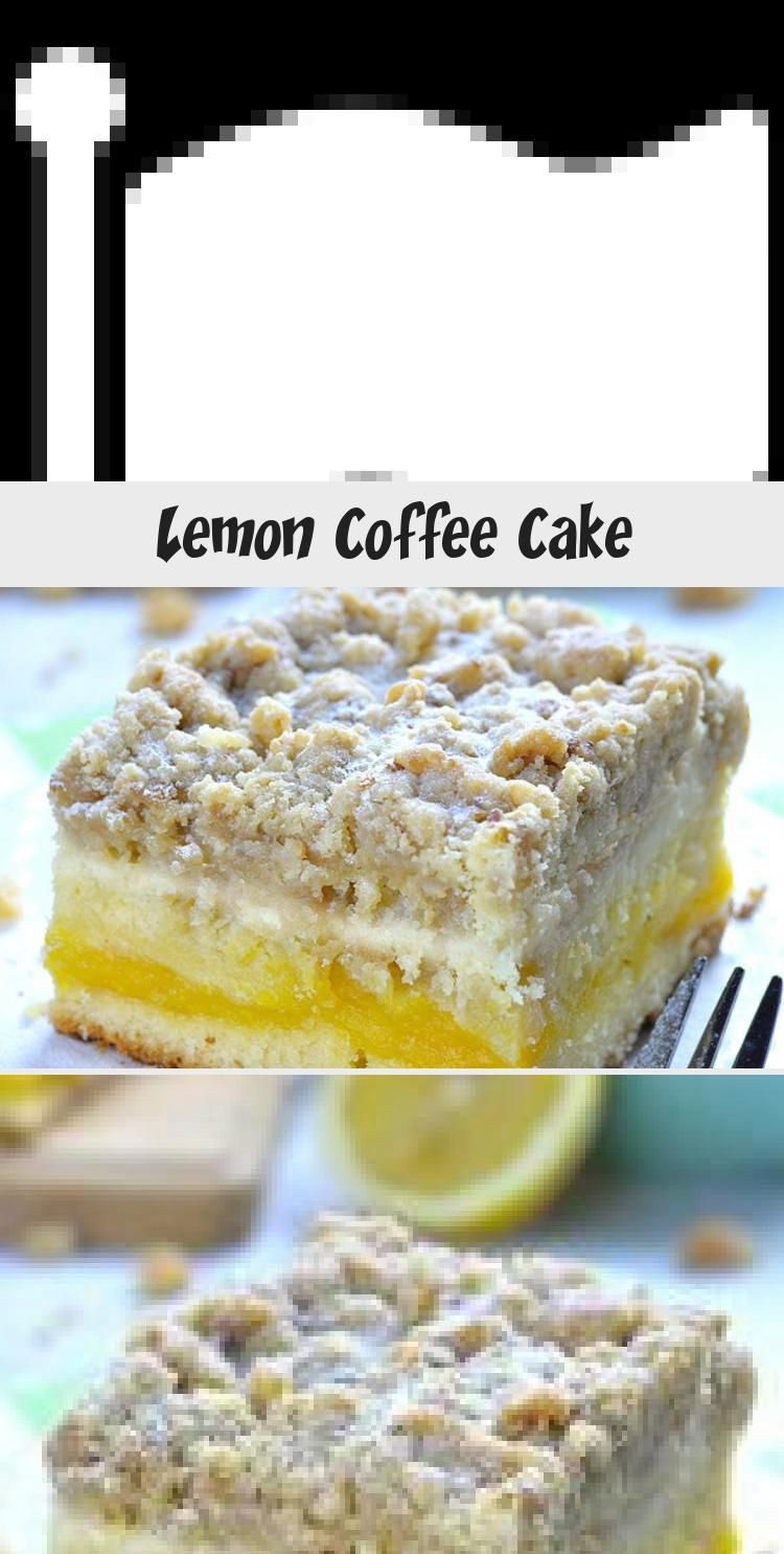This tender and fluffy Lemon Coffee Cake is super moist. It has a tart lemon curd layer in the cent