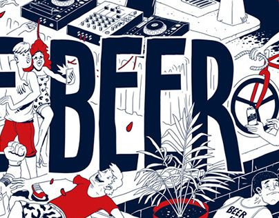 Wallpaper design for Miller Lite dedicated to the beautiful act of beerdrinking