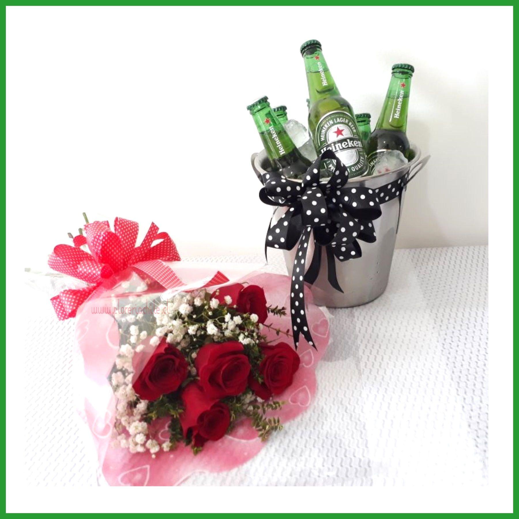 Bouquet De 05 Rosas Hielera 06 Cervezas Heineken Sofia