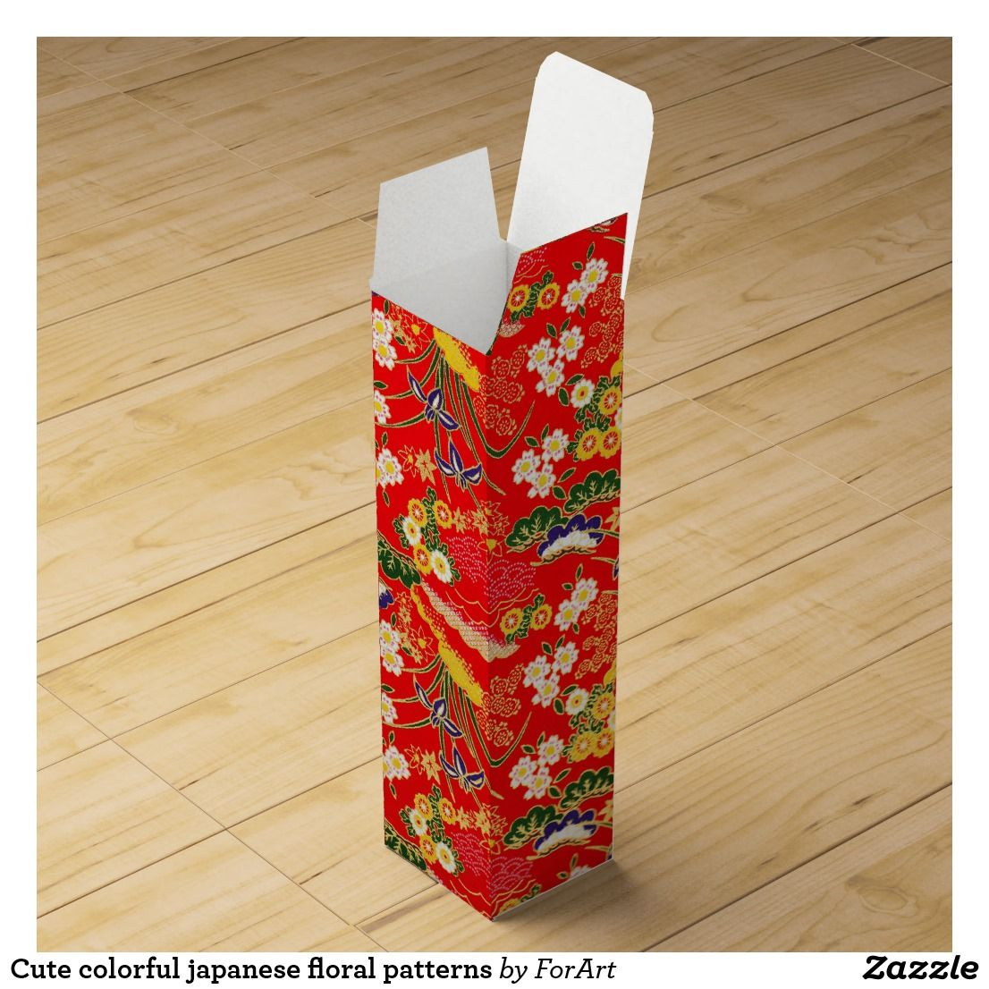 Cute Colorful Japanese Floral Patterns Wine Gift Box Zazzle Com Wine Gift Boxes Wine Box Crafts Christmas Craft Supplies