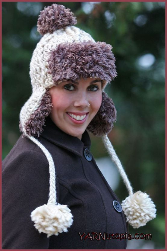 Faux Fur Trapper Hat - free crochet pattern and video from YARNutopia By  Nadia Fuad. c6a3eeff220