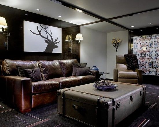 Basement Living Room Designs Best Create Beautiful Living Room Using Resin Deer Head Decorations Inspiration