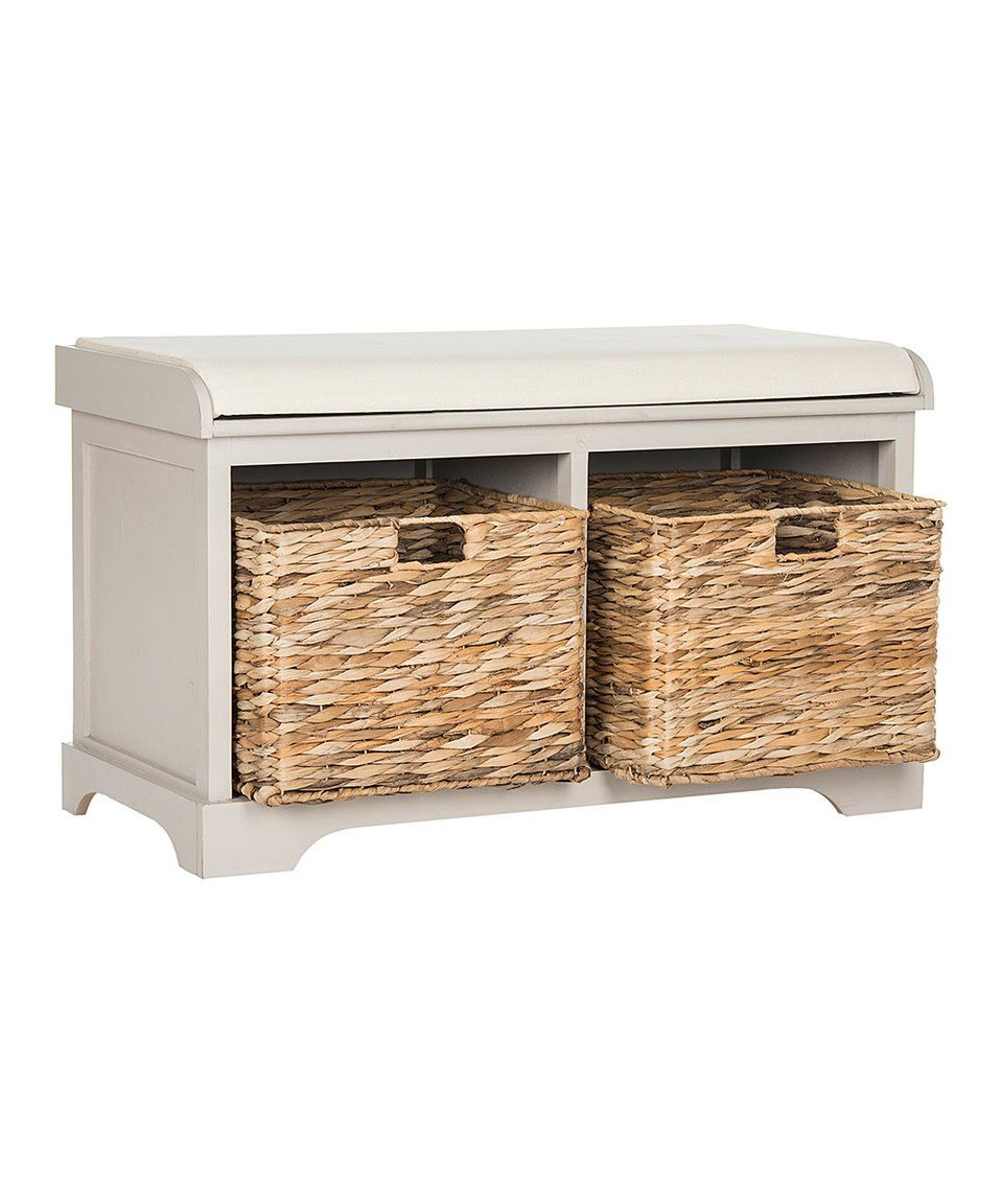 Take A Look At This Vintage Gray Anna Wicker Storage Bench Today!
