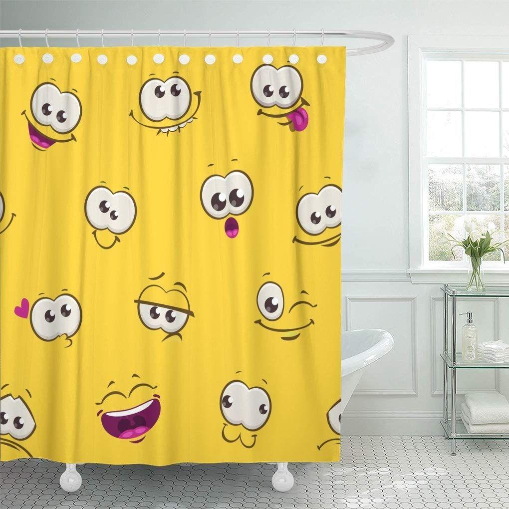 Cute Comic Funny Faces On Yellow Cartoon Pattern Shower Curtain 60x72 In 2020 Patterned Shower Curtain Bathroom Decor Shower Bath