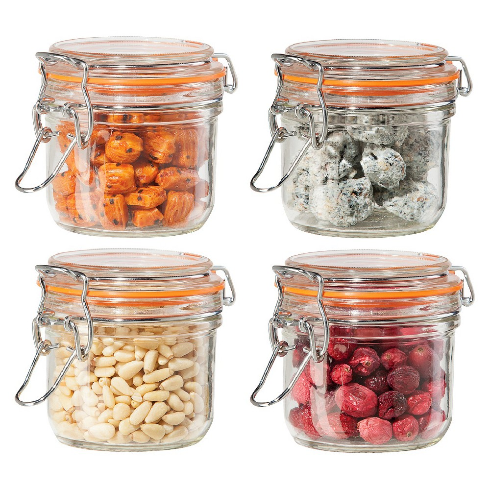 Kitchen canisters glass  Oggi  Piece Airtight Glass Canister Set with Clamp Lids and