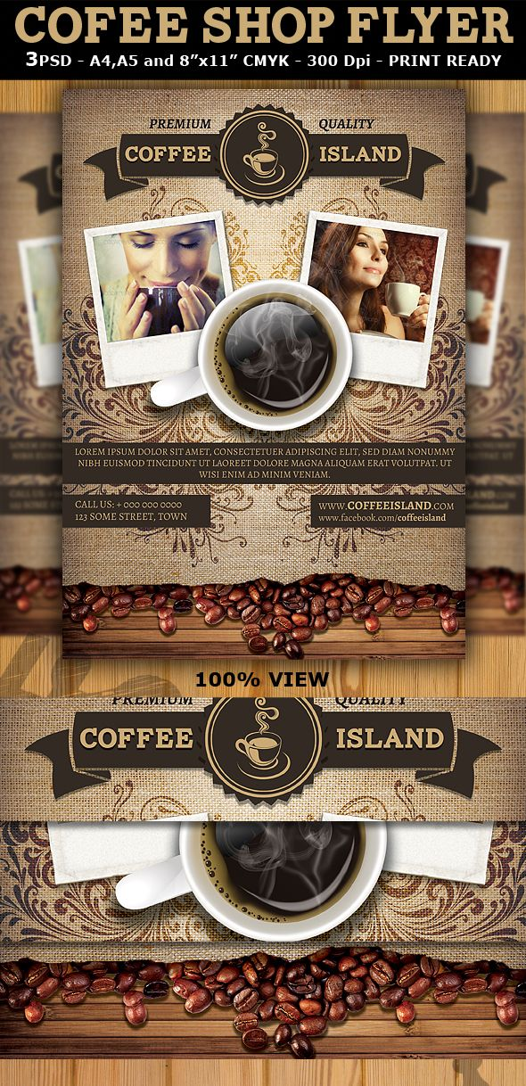 Coffee Shop Magazine ad or Flyer Template by Christos Andronicou - coffee shop brochure template