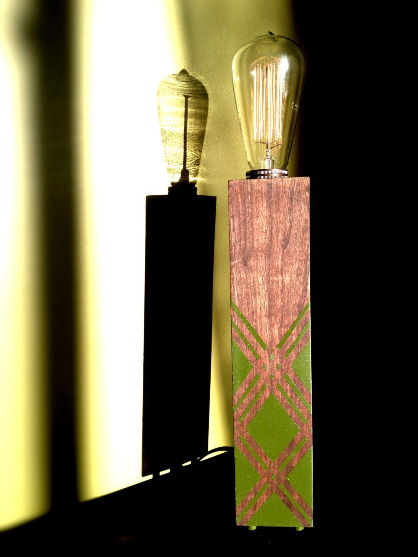 Contemporary Wood Block Table Lamp 135 00 Via Etsy Lamp Design