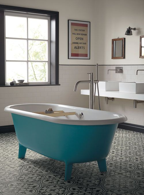 Nice turquoise bath with white inside from Fired Earth Audrey bath   House    Pinterest   Fired earth, Bath and Wall colors