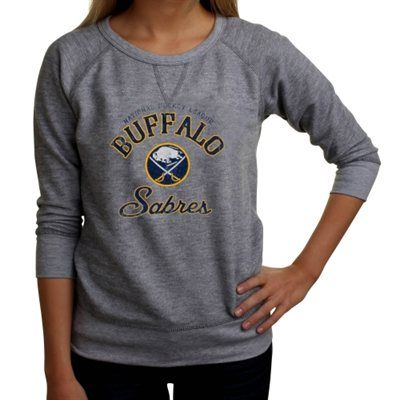 Buffalo Sabres Ladies Vintage Block Script French Terry Sweatshirt - Ash c81f739cd