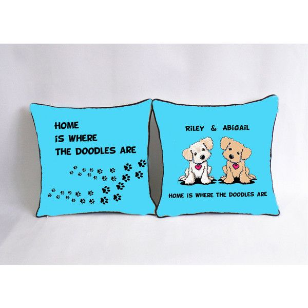 Doodle Dog Cushion Case-Personalized Funny Dog Bed Pillow-Paw Print... (€25) ❤ liked on Polyvore featuring decorative pillows, home & living, home décor and light blue