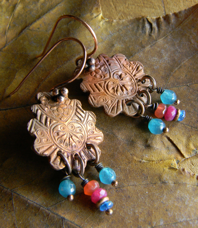 Jewel tone copper metal clay earrings by Gloria Ewing.