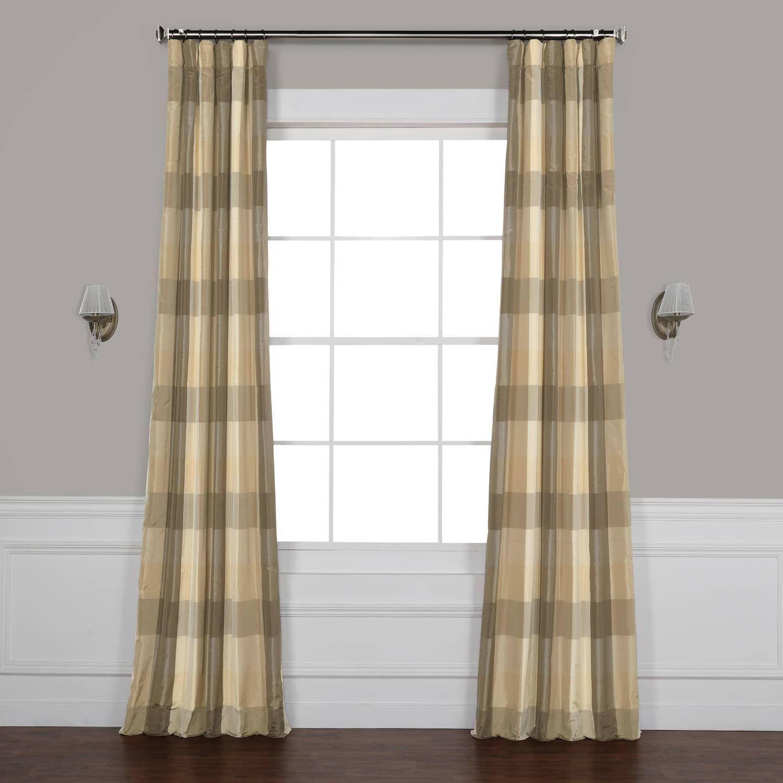 Sutton Taupe & Gold Designer Faux Silk Plaid Curtain