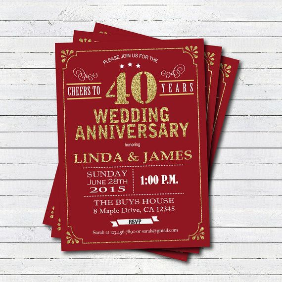 40th Wedding Anniversary Gift Ideas For Friends: 40th Wedding Anniversary Invitation. Ruby Red 40th Wedding