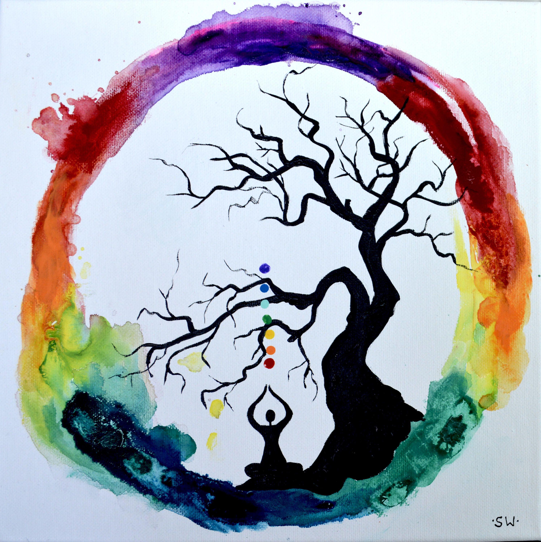 Rainbow Meditation Ring With Healing Tree Original Painting Chakra Energy Yoga Rainbow Om Ohm Canvas Zen Zen Painting Yoga Painting Yoga Art Painting