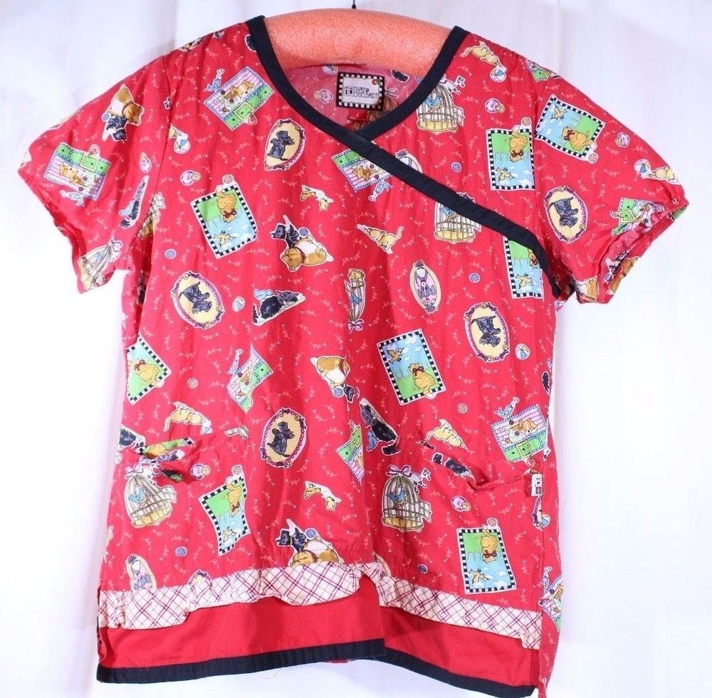 Mary engelbreit size l see measurement scrub top red cats
