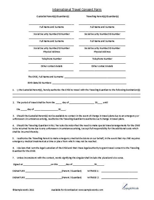 Child International Travel Consent Form Microsoft Word Document