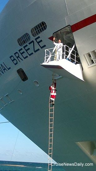 New Carnival Breeze Cruise Line Arrives In Miami: Santa Claus Arrives On Carnival Breeze