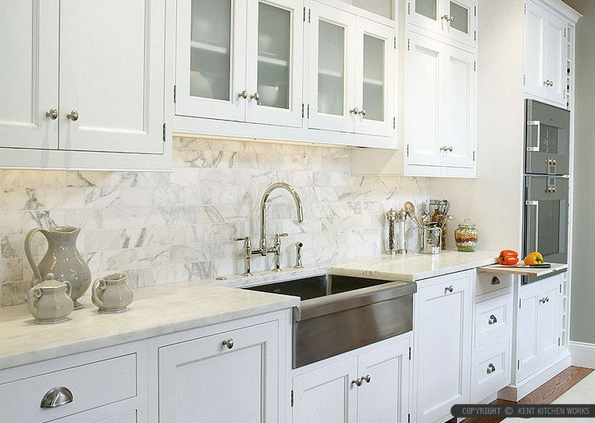 white kitchen cabinets and countertop with subway calacatta gold kitchen backsplash tile from backsplashcom - Backsplash White Kitchen