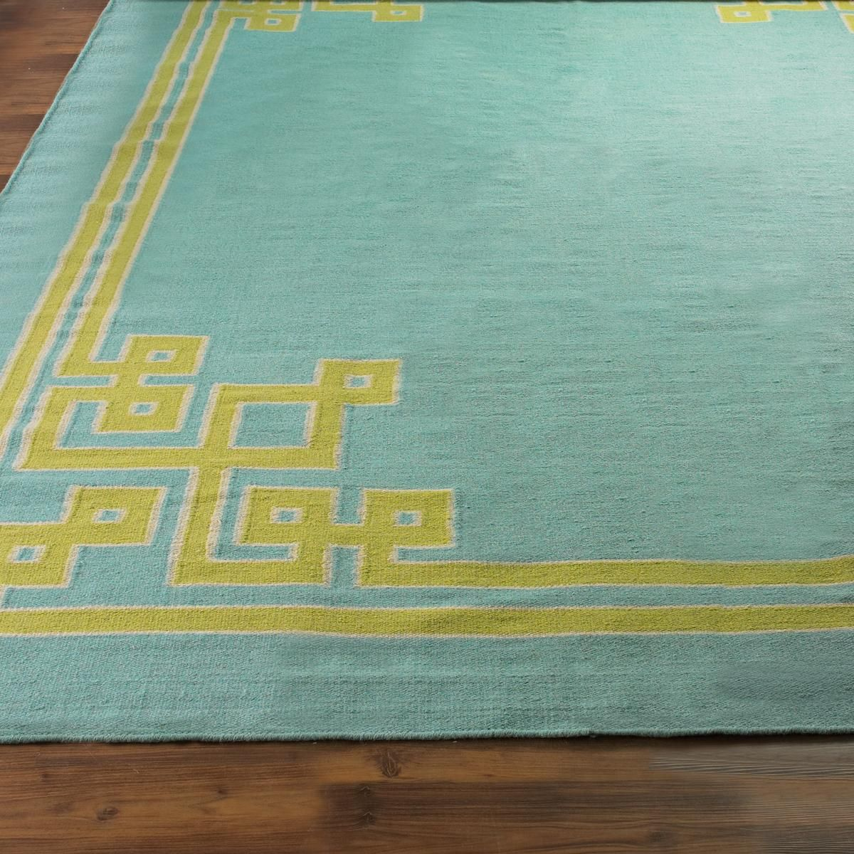 Lime Green And Blue Rug: Fretwork Corners Dhurrie Rug