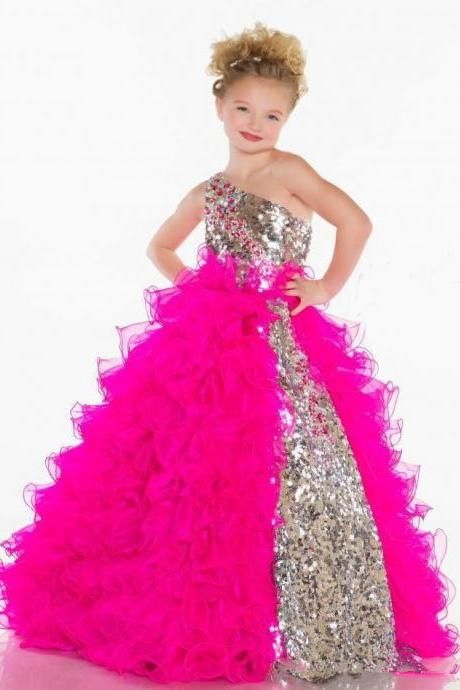 Cute Lovely Sequins Crystal Ruffles A Line Tulle Girl s Pageant  Flower  Girl Dresses With One Shoulder Neckline 4938fb0f8d3f