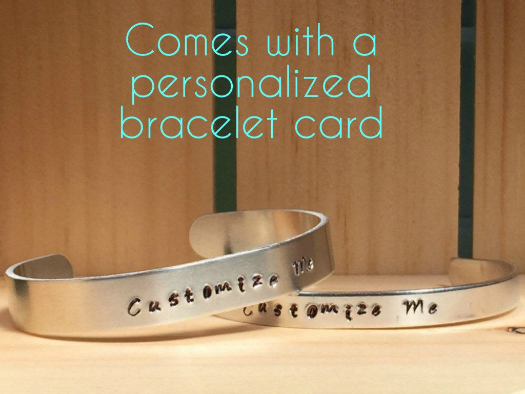 Custom Bracelet - Personalized Name Cuff Bracelet - Customizable Message - Word Bracelet - Custom Hand Stamped with Personalized Card by BlueEyeDesignz on Etsy