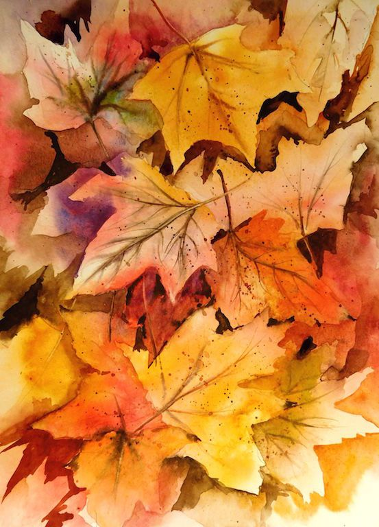 Aquarel Feuilles Au Sol30x40 Contemporary Art Artists Autumn