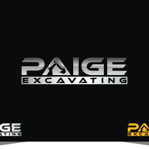 Paige Excavating - sleek and professional excavation logo  Residential/commercial excavating. Target audience is municipal, other  contractors, residential, ...