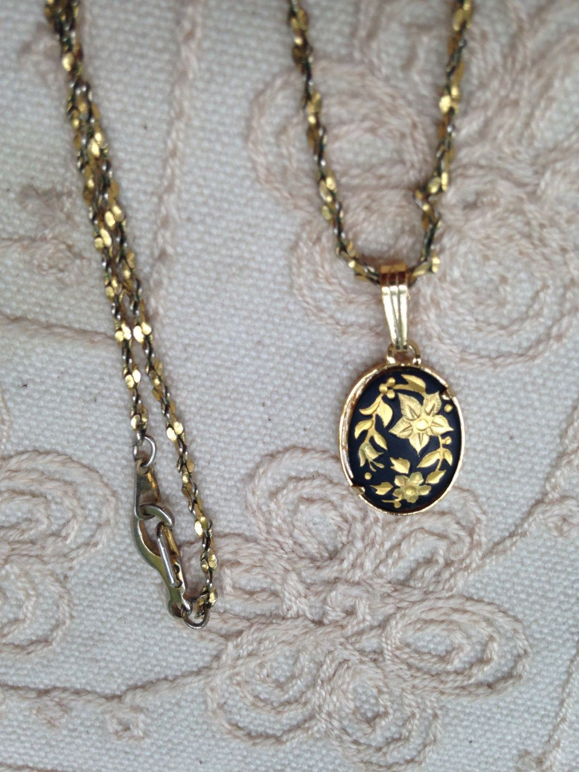 Vintage damascene pendant necklace damascene necklace vintage