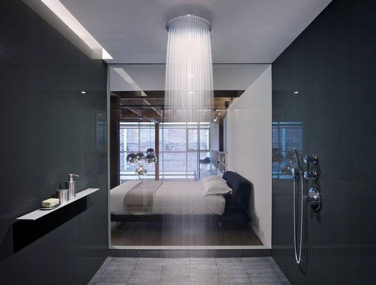 douche l 39 italienne carrel e avec douche de t te ronde encastr e au plafond bathroom. Black Bedroom Furniture Sets. Home Design Ideas