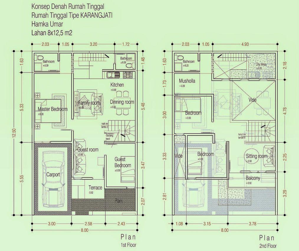 Denah Rumah 2 Lantai 4 Kamar Tidur 1 Mushola Denah Rumah Minimalis