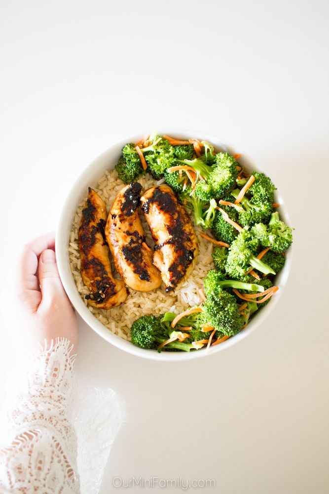 Grilled Chicken and Veggie Rice Bowl #grilledchickenparmesan