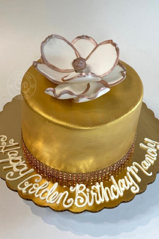 Golden Birthday Cake In 2020 Golden Birthday Cakes Cake Creative Cakes