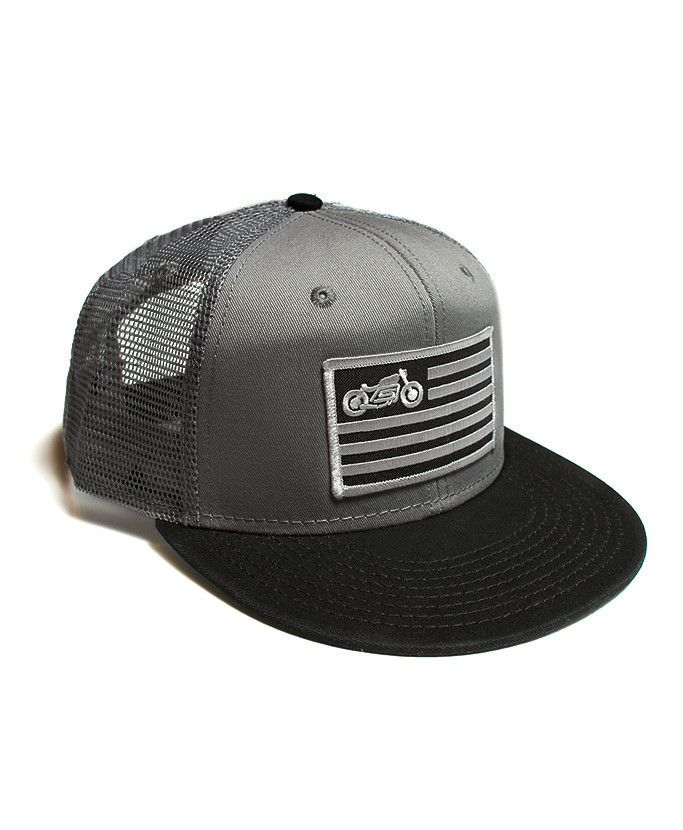 scotch and iron mesh truck hat with motorcycle patch 123ce84c4d0b