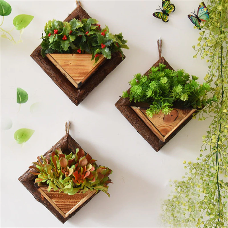 Wall Hanging Flower Pots Wooden Flower Container Wood Ornamental