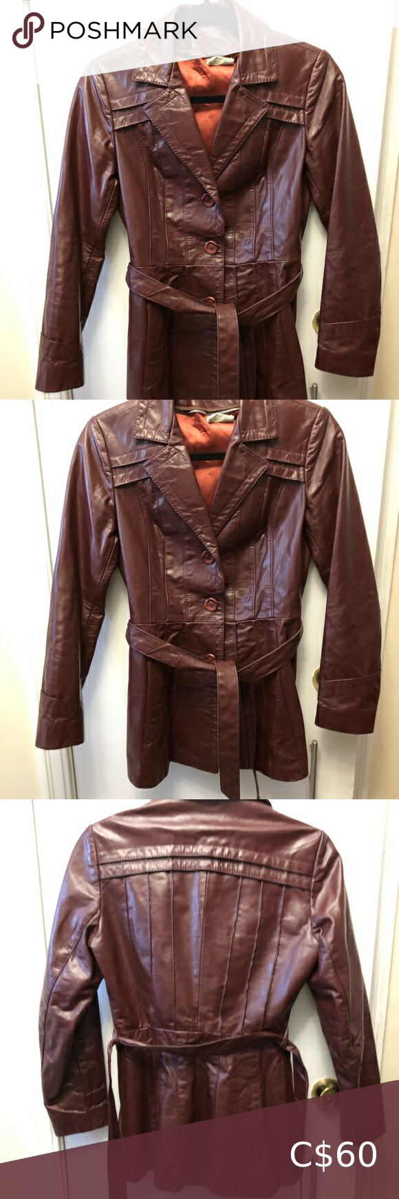 Womens Vintage Burgundy leather jacket with belt. in 2020