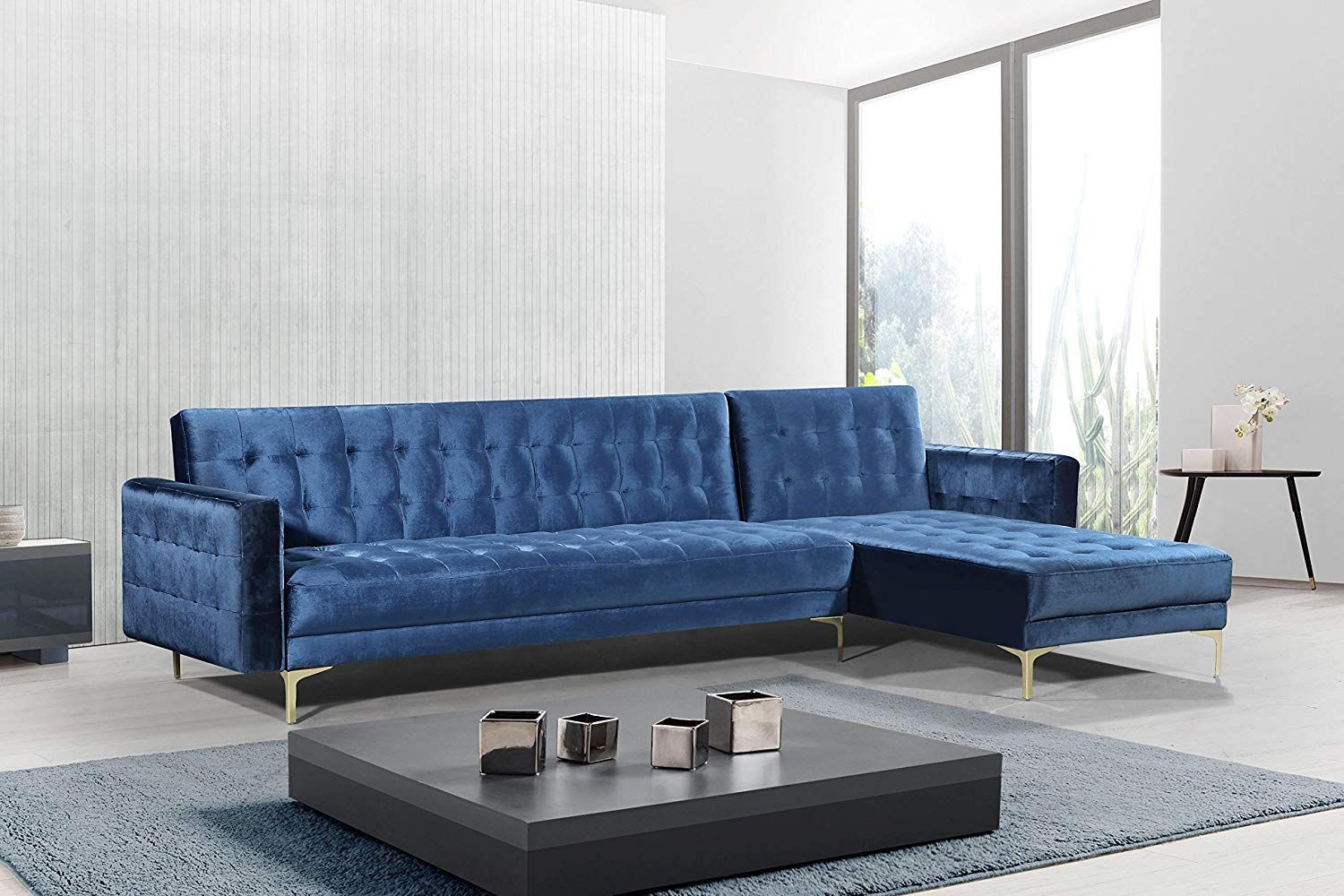 Tufted Velvet L Shaped Couch Sleeper Sofa L Shape Chaise Tufted Velvet Upholstered Gold Tone Metal Y Sectional Sleeper Sofa Sectional Sofa Chic Home Design