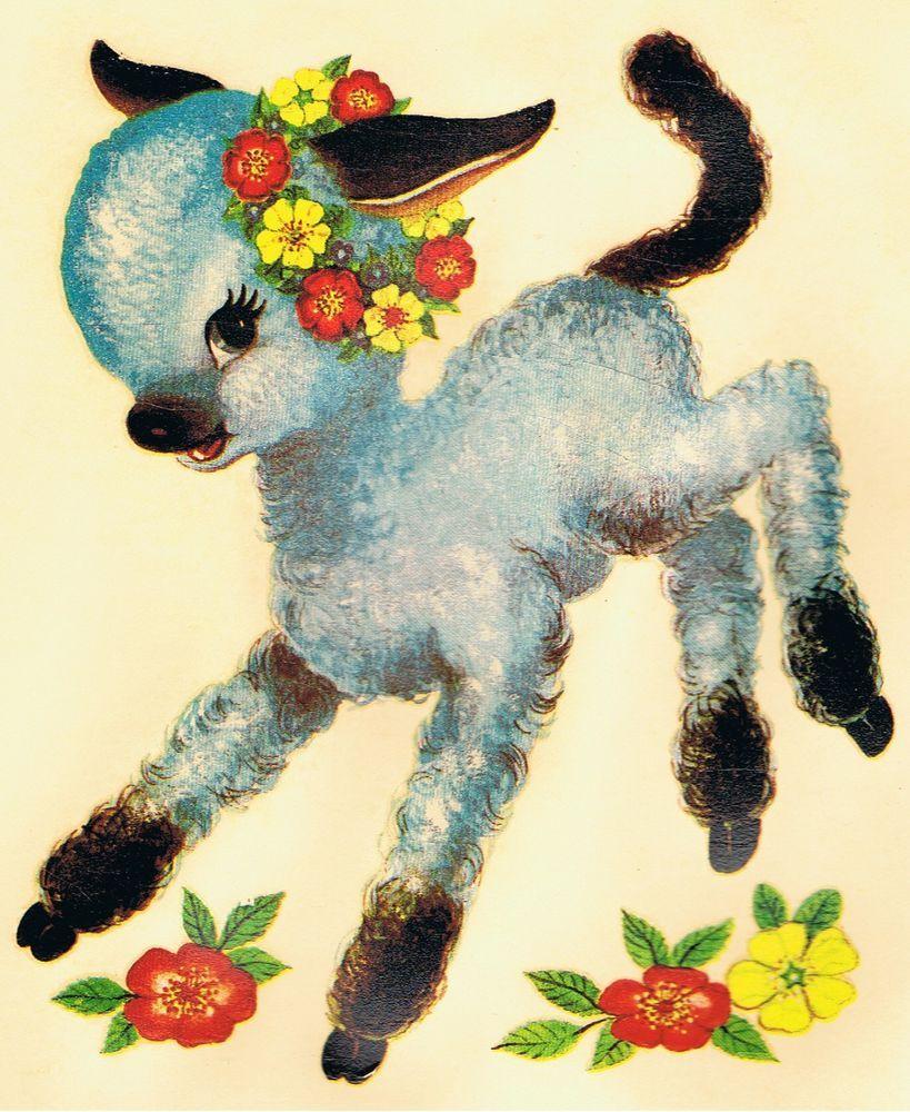 2 Vintage Decals Blue Lamb Retro Children S Nursery 1965 Design Unique Transfers