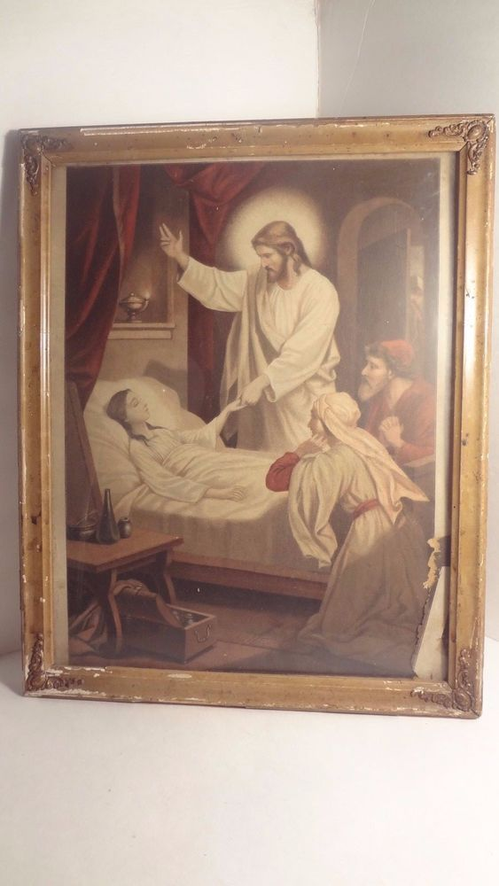 Antique Jesus Framed Print Healing Last Rites Religious Jesus Christ ...