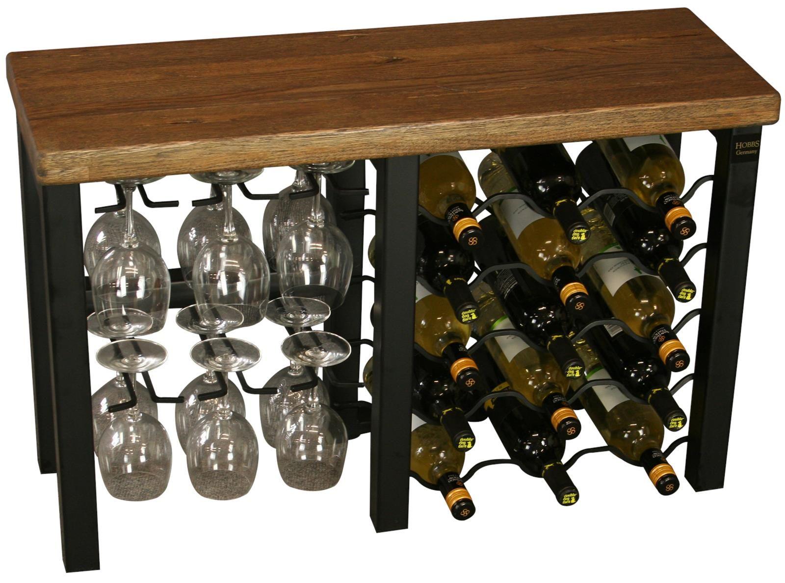 Hobbs Germany Wine Rack 15 Bottle Reclaimed Oak Walnut Black Iron