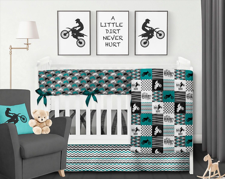Dirt Bike Bedding Boy Crib Bedding Set Teal Motorcross Etsy Boys Crib Bedding Sets Baby Boy Room Nursery Baby Boy Quilts