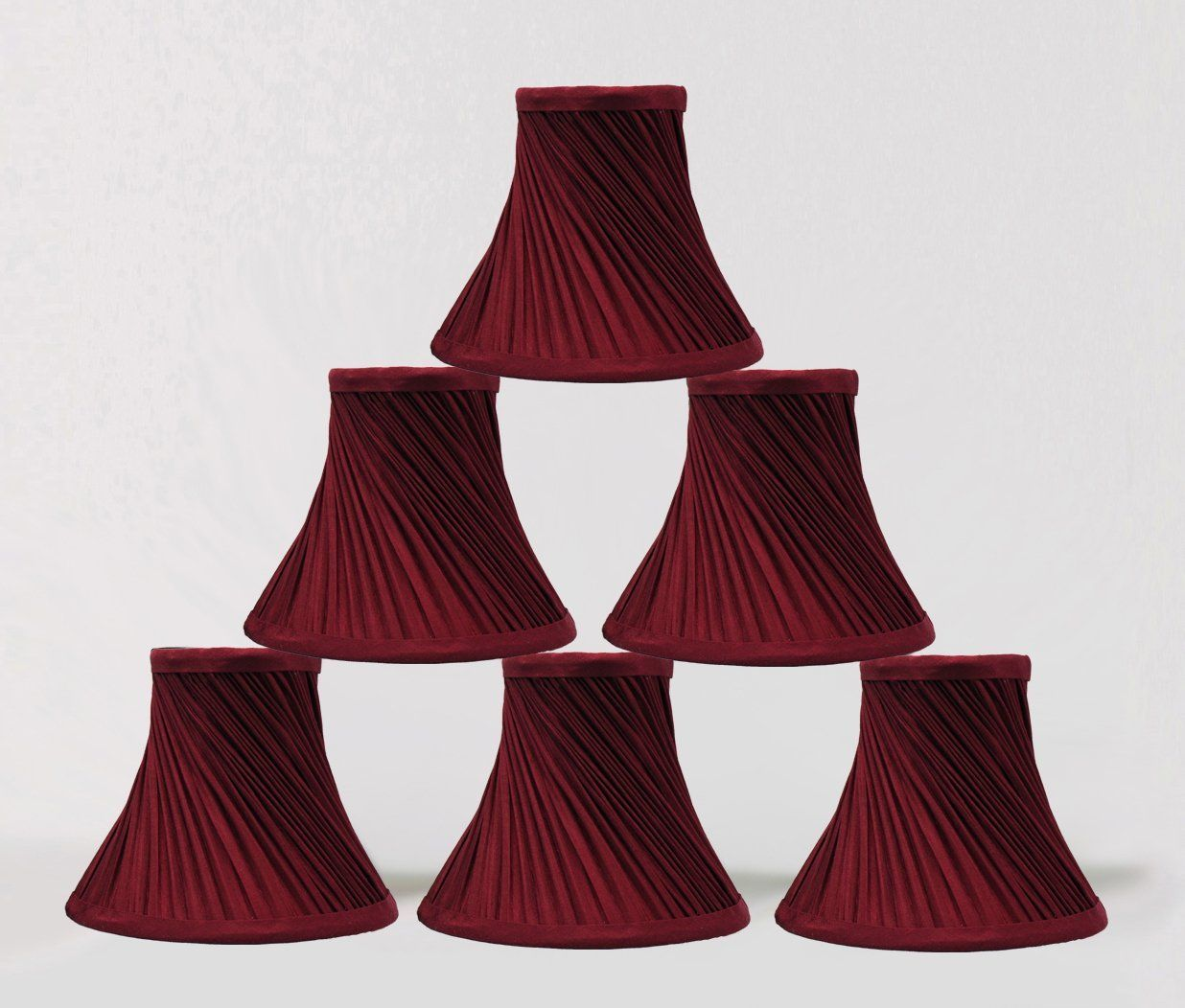 Urbanest 1101004c Set Of 6 Swirl Pleated Chandelier Lamp Shades 6 Inch Bell Clip On Burgundy Click I Lamp Shades Chandelier Lamp Shades Light Accessories