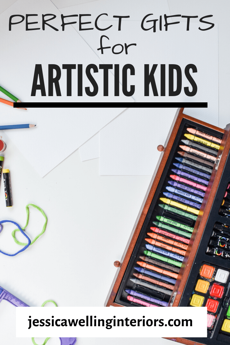 Looking for the perfect gifts for artistic kids? This guide has amazing gift ideas for and kid who loves arts and crafts, whether they're a toddler, preschooler, elementary age, or teens! #jessicawellinginteriors #giftsforkids #crafts #craftsforkids #kidgifts