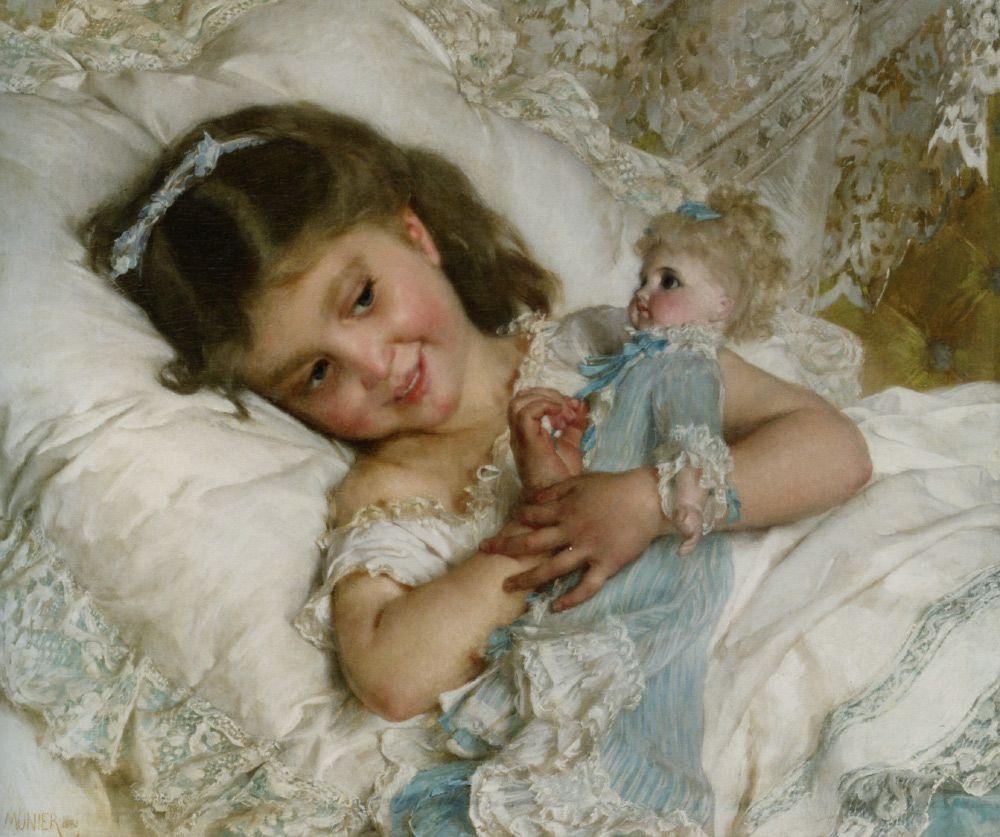 """MENINAS ADORAM brincar com bonecas, e a predisposição para esse comportamento não se explica apenas pela educação (imagem: """"Amies — Girl with Doll"""" ● Émile Muinier, 1881)"""
