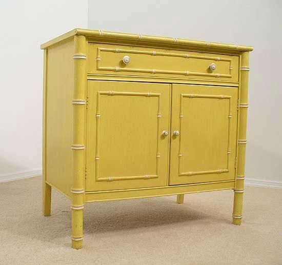 Storage Furniture - yellow FAUX BAMBOO cabinet console Hollywood ...