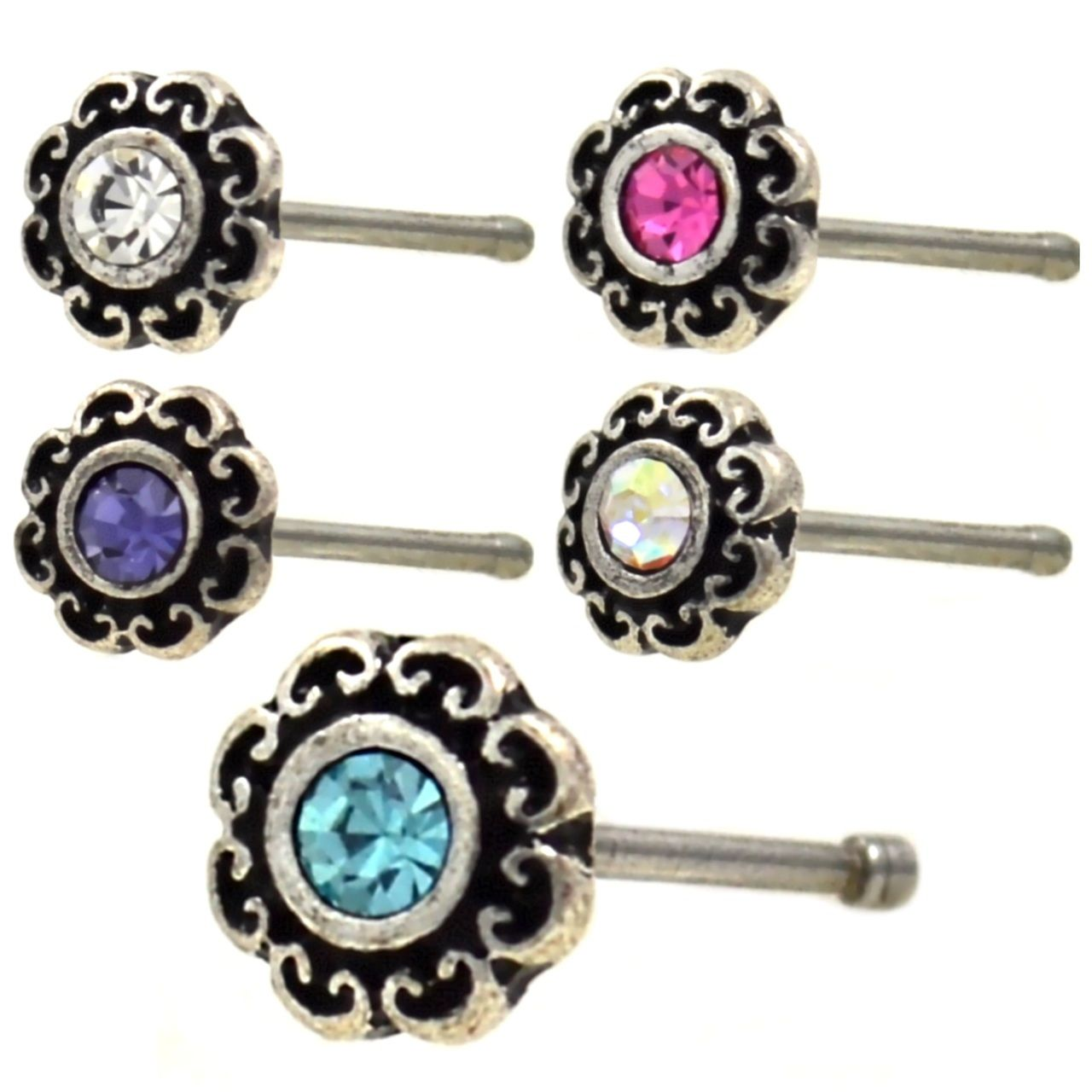 Ball End 316L Surgical Steel 0.8mm Nose Stud Tribal Flower AB CZ  20g