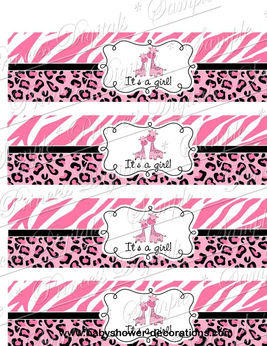 DIY Water Bottle Labels, Baby Shower Itu0027s A Girl Safari Giraffe   Http:/