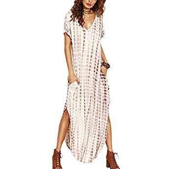 09dc66860 Vestidos Mujer Casual Playa Largos Verano Tie Dye Vestido Boho Hendidura  Falda Larga Maxi Vestido Playeros